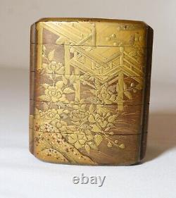 Fine Antiquité Japonaise Des Années 1800 Meiji Période 5 Compartiment Or Laque Inro Orné