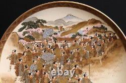 Fine Assiette Satsuma Japonaise, Période Meiji, 19ème C Marqué. Procession