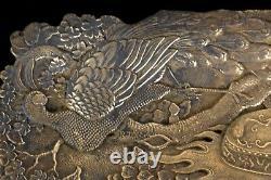 Fine Bronze 19ème C. Antique Japonais Meiji Peacock Pin Collier Signé