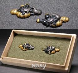 Fine Daikoku God Menuki 17-18thc Japonais Edo Samurai Koshirae Tsuba Antique
