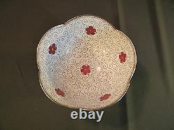 Fine Début 1900 Japonais Inaba Scallop Rim Cloisonne Bowl Avec Fleurs Marquées