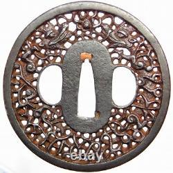 Fine Dragons Katana Tsuba 18-19thc Japonais Edo Antique Koshirae Montage F137