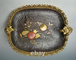Fine Elegant Antique Japonais Ormolu Monté Plaque De Bois Laqué