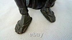 Fine Figure De Bronze Japonaise Meiji C1900 / Okimono Vendeur D'oeufs D'oie Décoré
