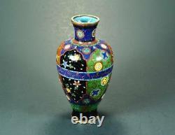 Fine & Gorgeous Meiji Japonais Antique Cloisonne Vase Avec Goldstone Ground