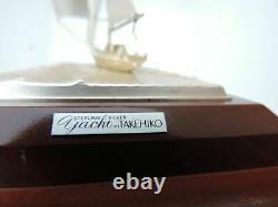Fine Hand Crafted Signé Argent Japonais 985 Voilier Bateau Takehiko Japon