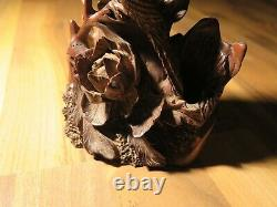 Fine Hande Wood Carved Japanese Vase Antique Japan Flower Shinto Shrine Bouddhisme