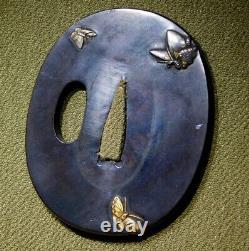 Fine Inlaid Butterflies Tanto Tsuba 19thc Japonais Edo Antique Pour Koshirae