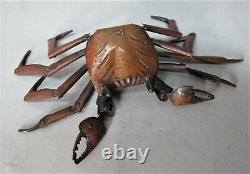 Fine Japanese Meiji-era Cuivre Articulé D'un Crabe, Signé Hiroyoshi C. 1880