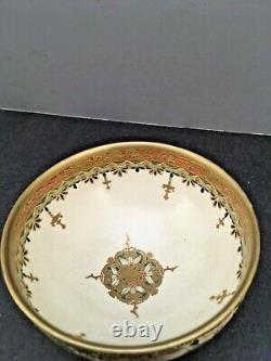 Fine Japonais Meiji Satsuma Bowl Avec De Belles Décorations De Kazan