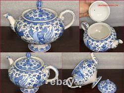 Fine Japonais Seto Sometsuke Kato Shubei Blue White Porcelain Tea & Coffee Set