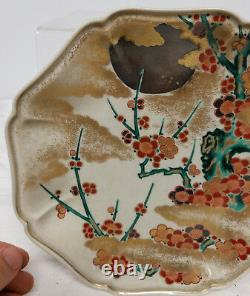 Fine Japonaise Antique Kosen Kiln Kanazawa Satsuma Ko Kutani Plat De Plaque Signé