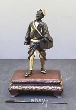 Fine Japonaise Meiji Miyao Bronze Doré Okimono De Scholar