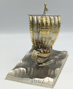 Fine Japonaise Sterling Silver Okimono Treasure Ship