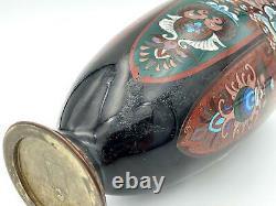 Fine Japonese Meiji Période Cloisonne Vase Fin 19ème Siècle 12 Pouces Tall