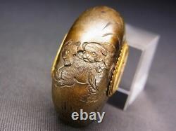 Fine Kurikata 18-19ème C Japonais Edo Antique Koshirae Montage Cheval & Chien E175