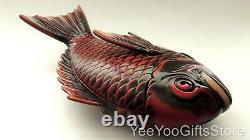 Fine & Larger Japonais Rouge Laque Snapper-sea Bream/tai Fish Lidded Tray-box