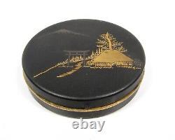 Fine Meiji Antique Japonais Signé Damascene Poudre Compacte Petit Boîtier Rond