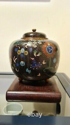 Fine Meiji Period Cloisonné Enamel Brass Floral Pheonix Vase Japanese Tripod