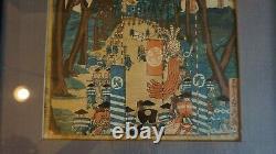 Fine Original Japanese Woodblock Print Par Utagawa Sadahide Encadré