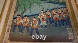 Fine Original Japanese Woodblock Print Par Yoshitoshi Goyu 1883 Encadré