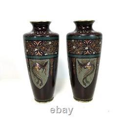 Fine Paire De Vases Antiques De Cloisonne D'époque Japonaise Meiji 8.5