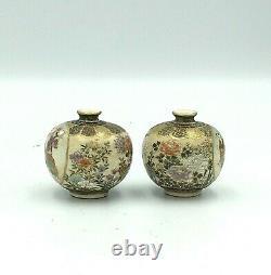 Fine Paire Japonaise Meiji De Vases Satsuma Signé