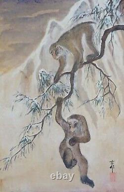 Fine Peinture Japonaise De Main Des Singes Japonais Signés De Côtelette