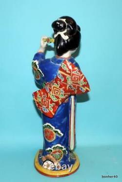 Fine Porcelaine Japonaise Grand Antique 19thc Kutani Gild Geisha Statues Figurine