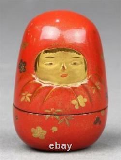 Fine Qualité Antique Japonaise Laqué En Bois Netsuke Inr Inro Signé Kajikawa