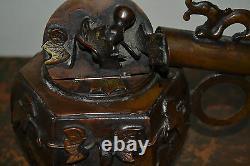 Fine Qualité Milieu Du 20ème Siècle En Bronze Japonais Ensemble D'écriture Yatate, C 1940