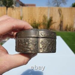 Fine Quality Antique Japonais Meiji 1868-1921 Metal Bronze Tin Dragon Box