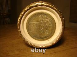 Fine Rare Vintage Fabriquée À La Main Japonaise Signé Porcelaine Et Vase D'urne De Bronze