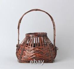 Fine Signé Japonais Ikebana Bamboo Basket Ff86