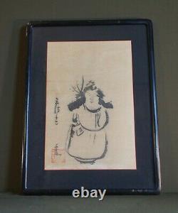 Fine Vieille Peinture À La Main Japonaise Sumi Enk Man Signé Encadré