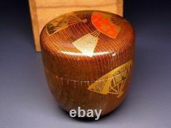 Fine Vintage Makie Lacquered Natsume Japonais Thé En Bois Caddy W Signed Box E475