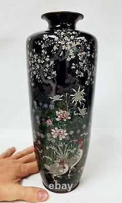 Grand Fine Antique Japonais Cloisonne' Vase Peut-être Par Ota