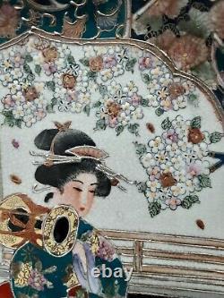 Grande Fine Satsuma Japonaise Craquelé Plaque De Porcelaine Or Gilt Ruffle Rim Signé
