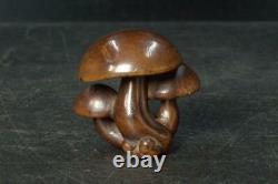 Japonais Antique Boxwood Netsuke Shimeji Mushrooms Wooden Fine Nw190