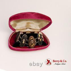 Japonais Meiji Shakudo Panneau Lien Bracelet Métals Mélangés Argent Sterling