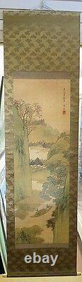 Main Japonaise De Parchemin Suspendu Peinte Sur La Soie Finement Détaillée Période Meiji