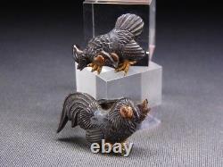 Menuki Fin 18-19ème C Japonais Edo Antique Koshirae Raccord Poulet E497