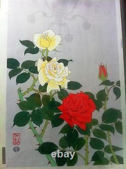 Nisaburo Ito Roses Impression Bois Japonais, Nice Petits Détails