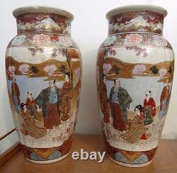 Paire Antiquité Japonaise Satsuma Kyoto Katuni Vase Fine Hand Painted Top Qualité
