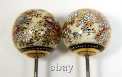 Paire D'épingles Satsuma Japonaises De Porcelaine Anciennes / Épingles De Chapeau
