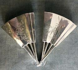 Paire De Qualité Fine De Japonais Sterling Silver Salt & Pepper Shakers Que Les Fans