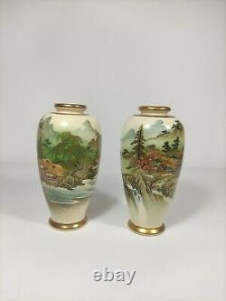 Paire De Vases Japonais Soko Satsuma Vintage, Très Fine Qualité Peint À La Main 16cm