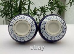 Paire Fine De Vases De Bouteille Imari Peints À La Main De L'époque Meiji Japonais C1880