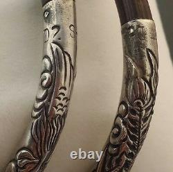 Paire Rare De Bracelets En Bracelets En Bambou Vintage Japonais Argent 925 Fabriqués À La Main