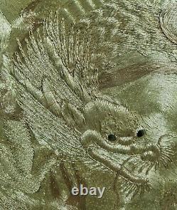 Panneau Antique De Robe De Dragon De Soie Brodé Japonais Fin Chinois Fukusa